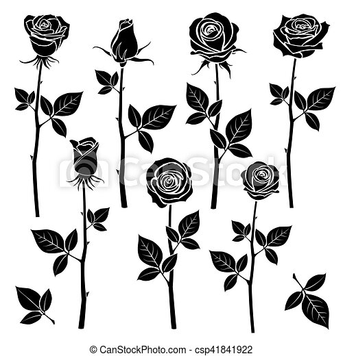 4f88f43aa Rose silhouettes, spring buds vector symbols. black rose with leaf ...