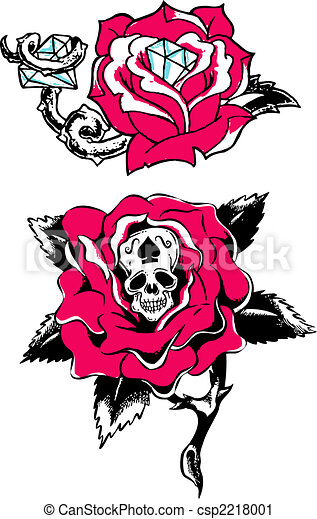 Rose Skull Diamond Tattoo