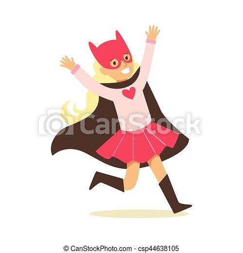rose, superhero, avoir, habillé, masque, chat, noir, déguisement, feindre, cap, girl, super, sourire, pouvoirs, caractère - csp44638105