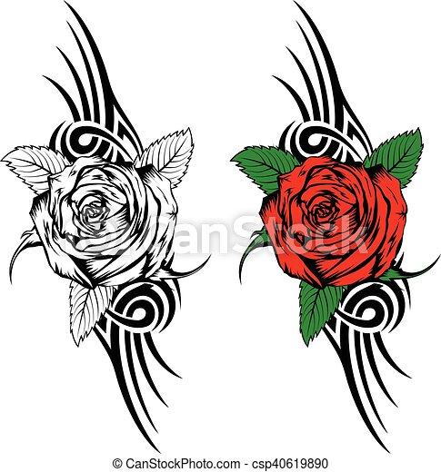 Tatouage Flammes Rose Tribal Illustration T Shirt Vecteur