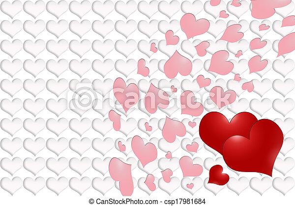 rose, valentine´s, -, cœurs, jour, rouges - csp17981684