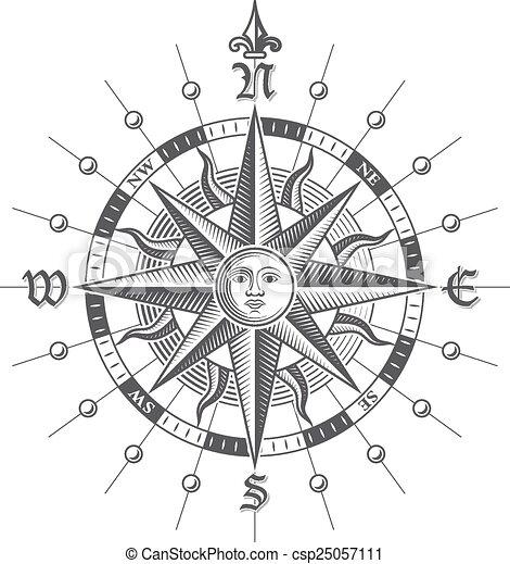 rose, vecteur, compas - csp25057111