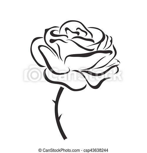 rose, vektor, ikone - csp43638244