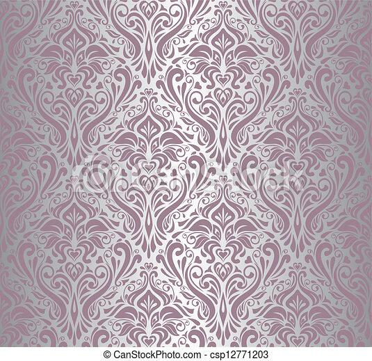 Rose Vendange Papier Peint Argent
