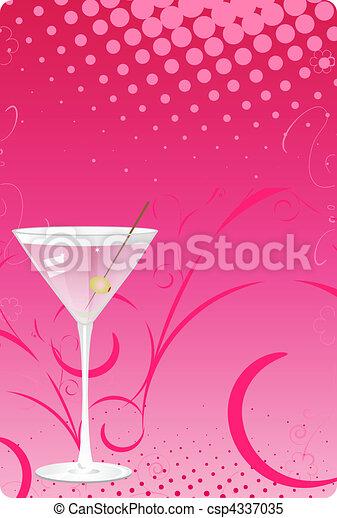 rose, verre, martini, dos, halftone - csp4337035