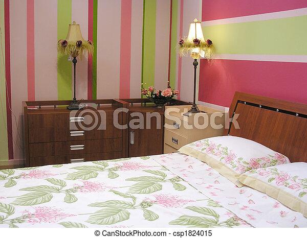 rose, vert, chambre à coucher
