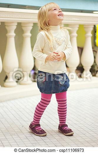 rose, vieux, collants, jean, années, 3, girl, jupe - csp11106973