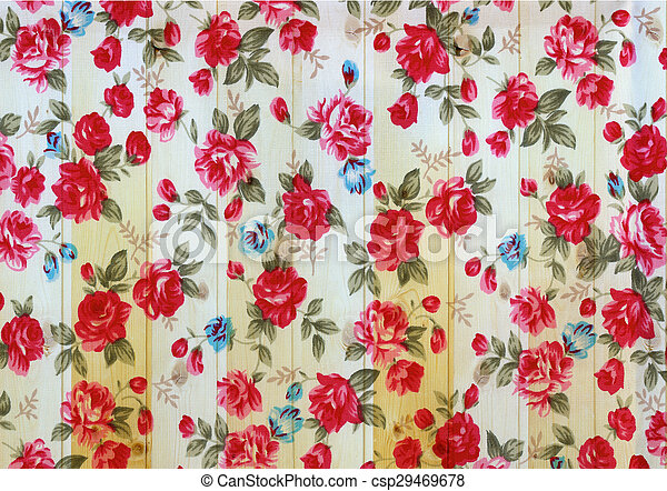 Rose vintage from fabric on white wooden background. - csp29469678