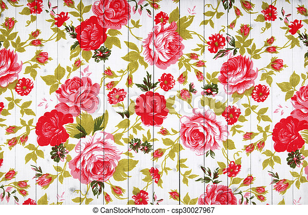 rose vintage from fabric on white wooden background. - csp30027967