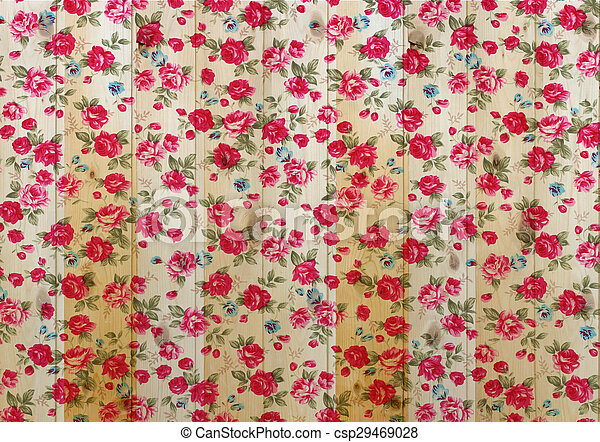 Rose vintage from fabric on white wooden background. - csp29469028
