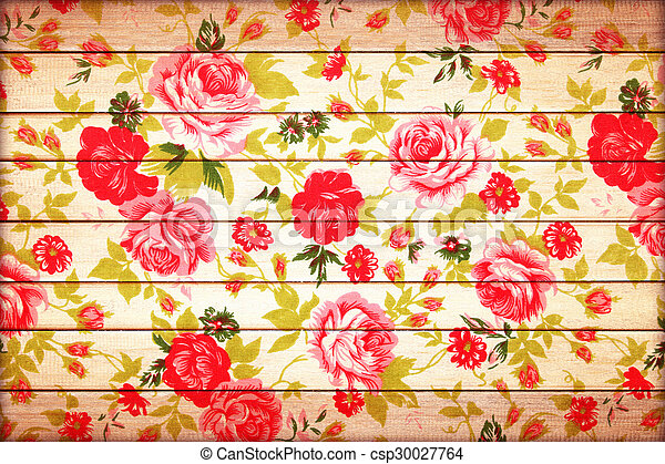 rose vintage from fabric on wooden background. - csp30027764