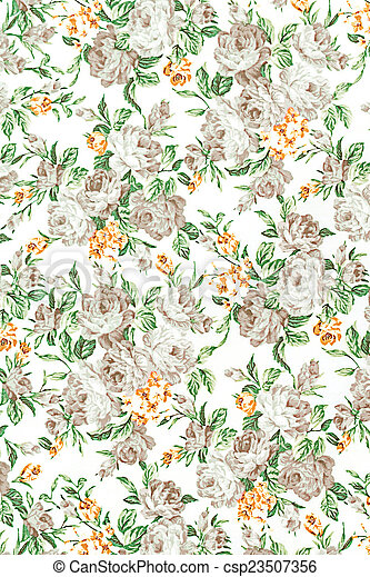 rose vintage on fabric background, gray colour - csp23507356