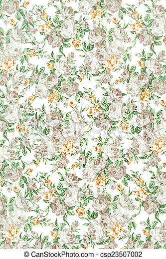 rose vintage on fabric background, gray colour - csp23507002