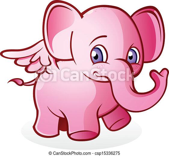 rose, voler, dessin animé, éléphant - csp15336275