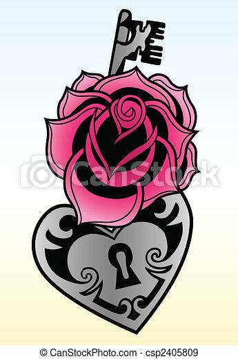 rose with locked heat-shape key - csp2405809