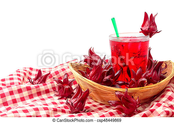 Roselle or hibiscus juice with fresh roselle, a drink for good health - csp48449869