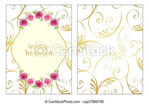 Rosen Rahmen Hochzeitskarten Gold Rose Rahmen Hochzeitskarten