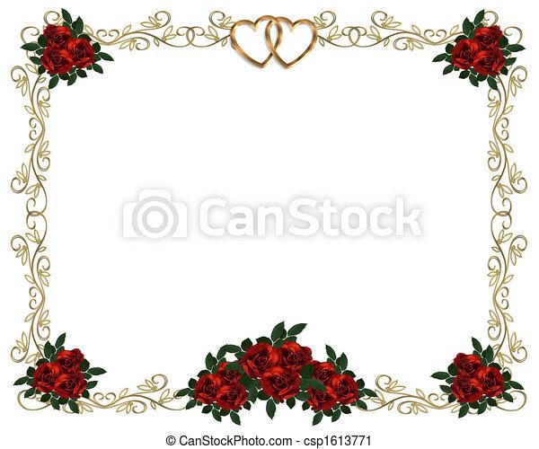 clipart von rosen, umrandungen, rotes , einladung - image, und, Einladungen