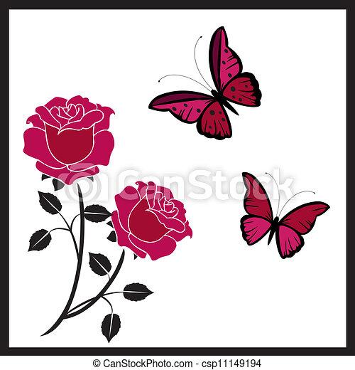 rosen, vlinders - csp11149194