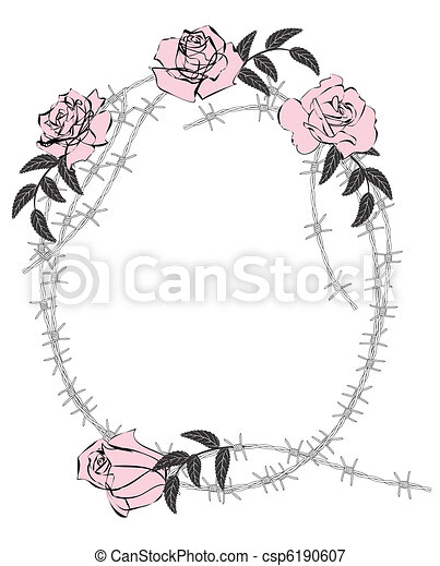 Vector frame with roses and barbed wire.
