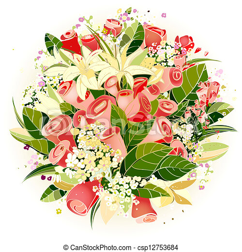 Bouquet Of Lilies Clipartby Wikki3 139 Roses And Lily Flowers Bunch Illustration Vector