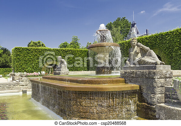 roses., baden-baden., parc, fontaine, allemagne - csp20488568