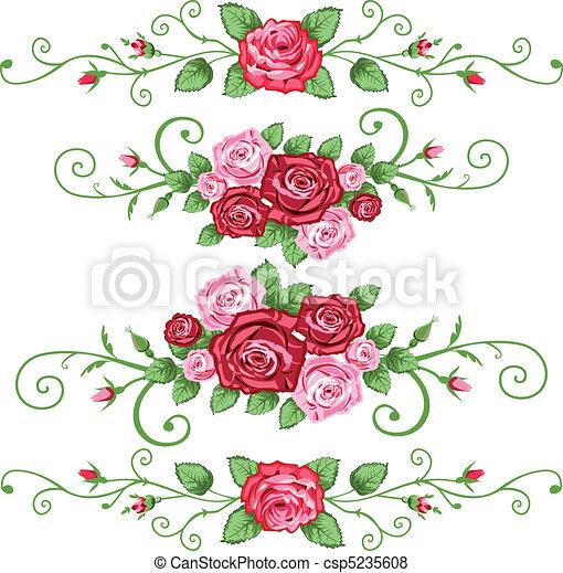 roses, bannières, ensemble - csp5235608