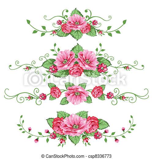 roses, bannières, ensemble - csp8336773