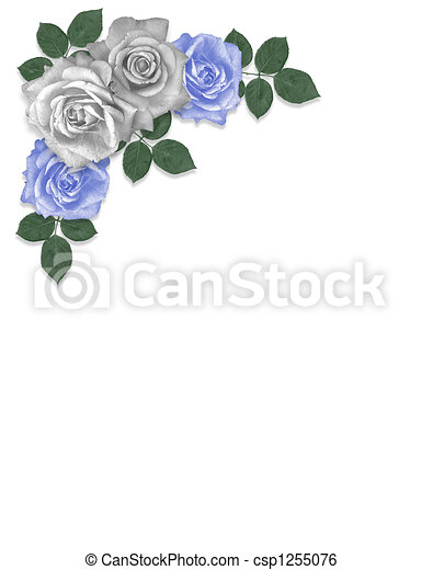 Roses Blue And White Corner 3d Illustrated Blue And White