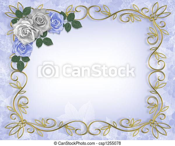 Roses Blue Wedding Border - csp1255078