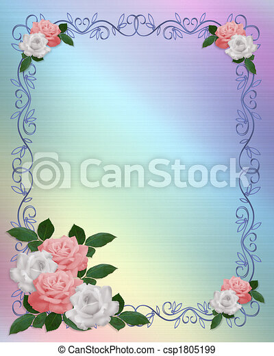 Roses Border Pink White Wedding Template Image And Illustration