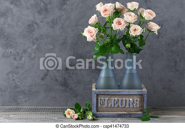 Roses Bouquet In Rustic Vase Fresh Pink Roses Bouquet In Rustic