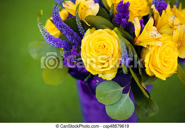 Roses bouquet of flower gift close up greeting card yellow stock roses bouquet of flower gift close up greeting card yellow violet color flowers isolated on mightylinksfo Images