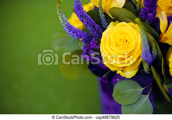 Roses bouquet of flower gift close up greeting card yellow violet roses bouquet of flower gift close up greeting card yellow violet color flowers isolated on mightylinksfo