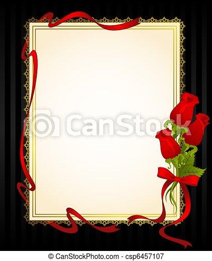 roses, dentelle, ornements - csp6457107