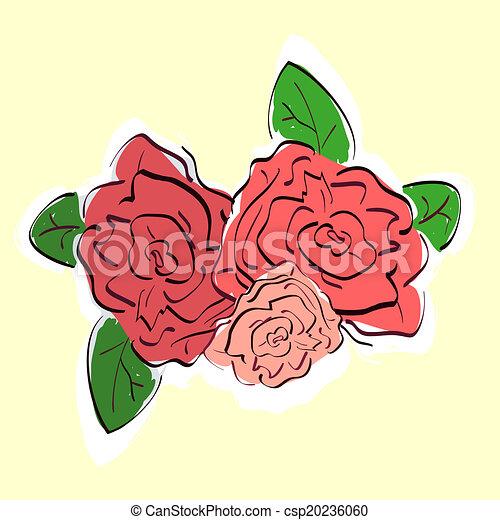 roses, dessiné, vendange, illustration, main - csp20236060