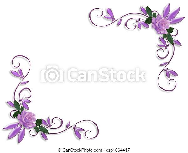roses, mariage, frontière, lavande, invitation - csp1664417