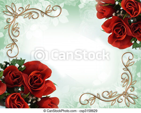 roses, mariage, frontière, rouges, invitation - csp3158629