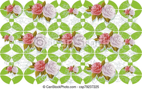 Roses on abstract art design - csp79237225