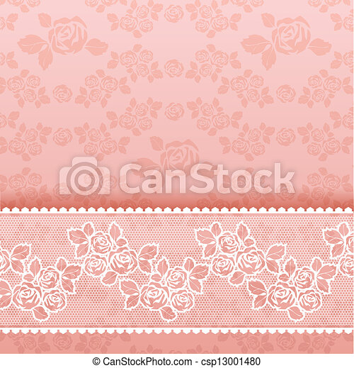 Roses on background, Square lace pink - csp13001480