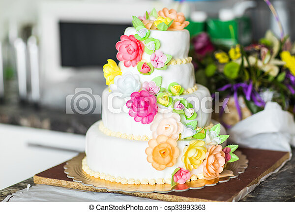Roses Roses Blanc Gâteau Mariage