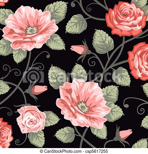 Roses seamless background - csp5617255