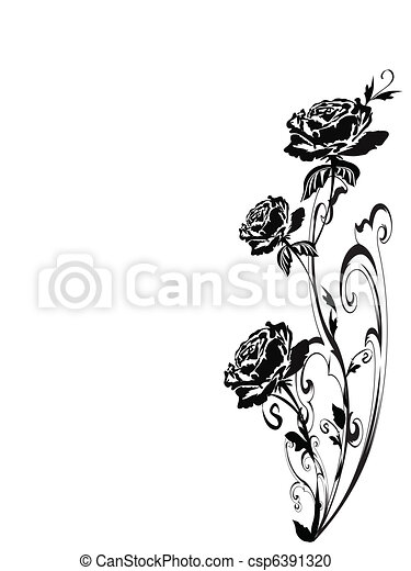 roses, silhouette - csp6391320