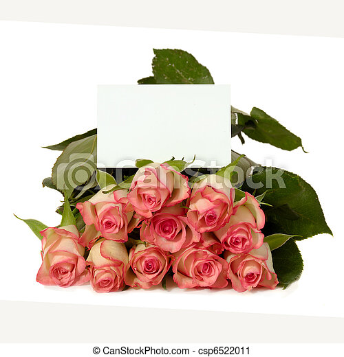 Roses with gift card bouquet of rose flowers with a blank stock roses with gift card csp6522011 negle Gallery