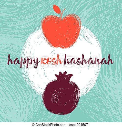 Rosh Hashanah Apple And Pomegranate On Whiteeps Greeting Card Wiyh