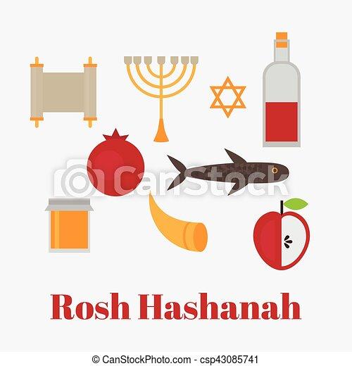 Rosh hashanah jewish new year greeting card hebrew symbols eps rosh hashanah jewish new year greeting card hebrew symbols judaism elements csp43085741 m4hsunfo
