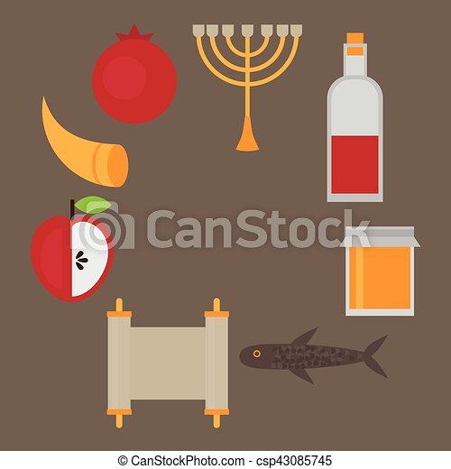 Rosh hashanah jewish new year greeting card hebrew symbols judaism rosh hashanah jewish new year greeting card hebrew symbols judaism elements csp43085745 m4hsunfo