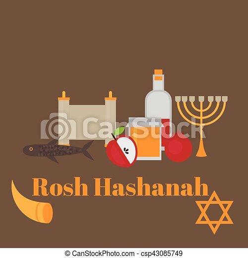 Rosh hashanah jewish new year greeting card hebrew symbols judaism rosh hashanah jewish new year greeting card hebrew symbols judaism elements csp43085749 m4hsunfo