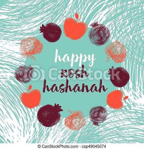 Rosh Hashanah Many Fruitseps Greeting Card Wiyh Symbol Of Rosh