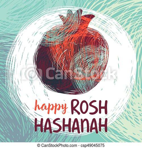 Rosh Hashanah Pomegranateeps Greeting Card Wiyh Symbol Of Rosh